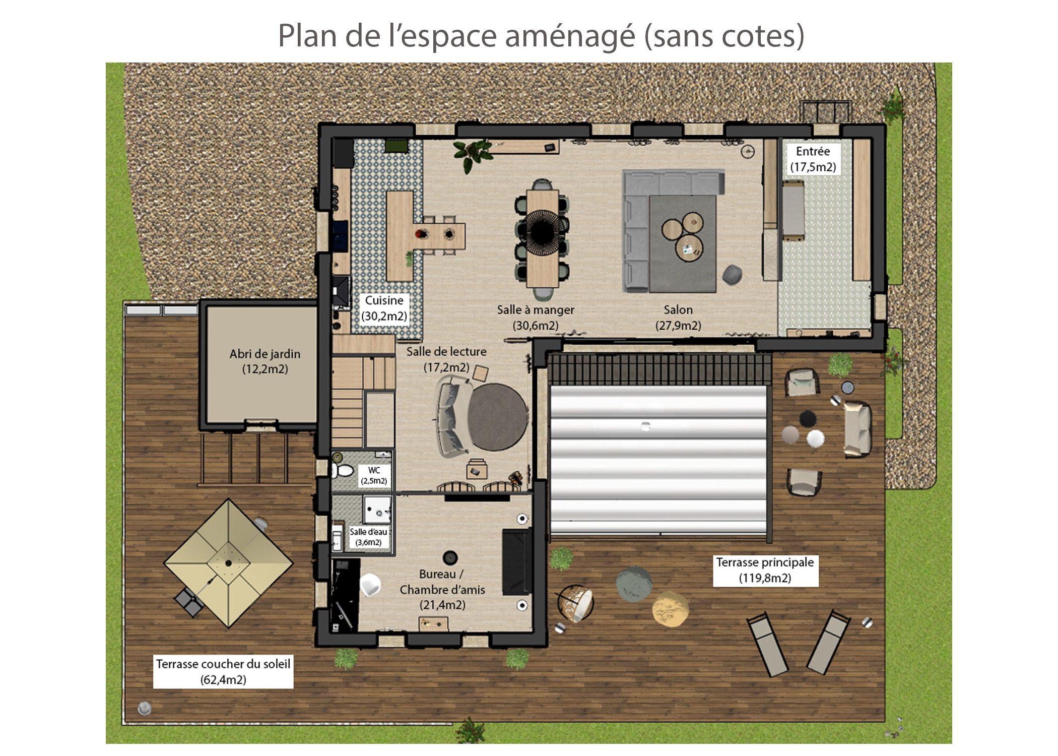 amenagement-decoration-maison de famille-campagne-provence-plan espace amenage-dekho design
