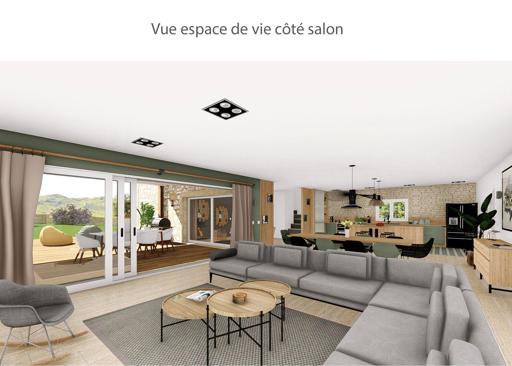 amenagement-decoration-maison de famille-campagne-provence-espace de vie cote salon-dekho design