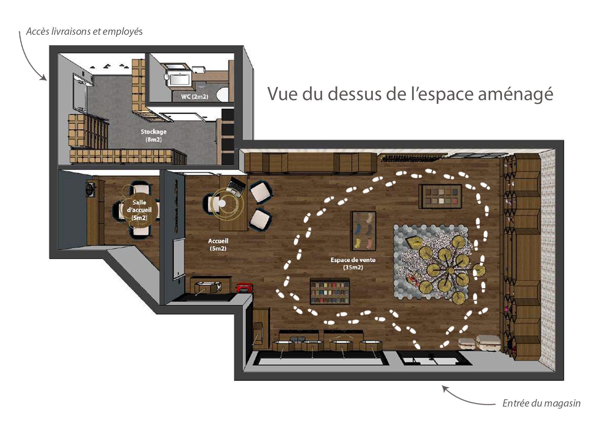 amenagement-decoration-magasin de luxe-paris-vue dessus espace aménagé-dekho design