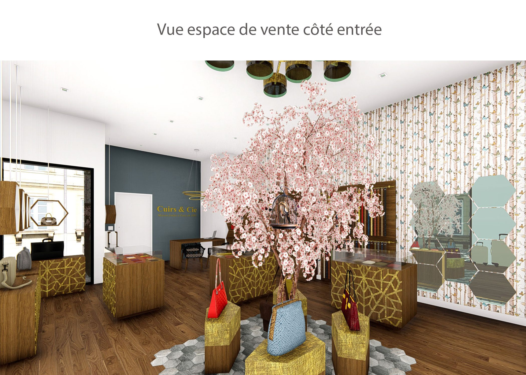 amenagement-decoration-magasin de luxe-paris-espace de vente cote entree-dekho design