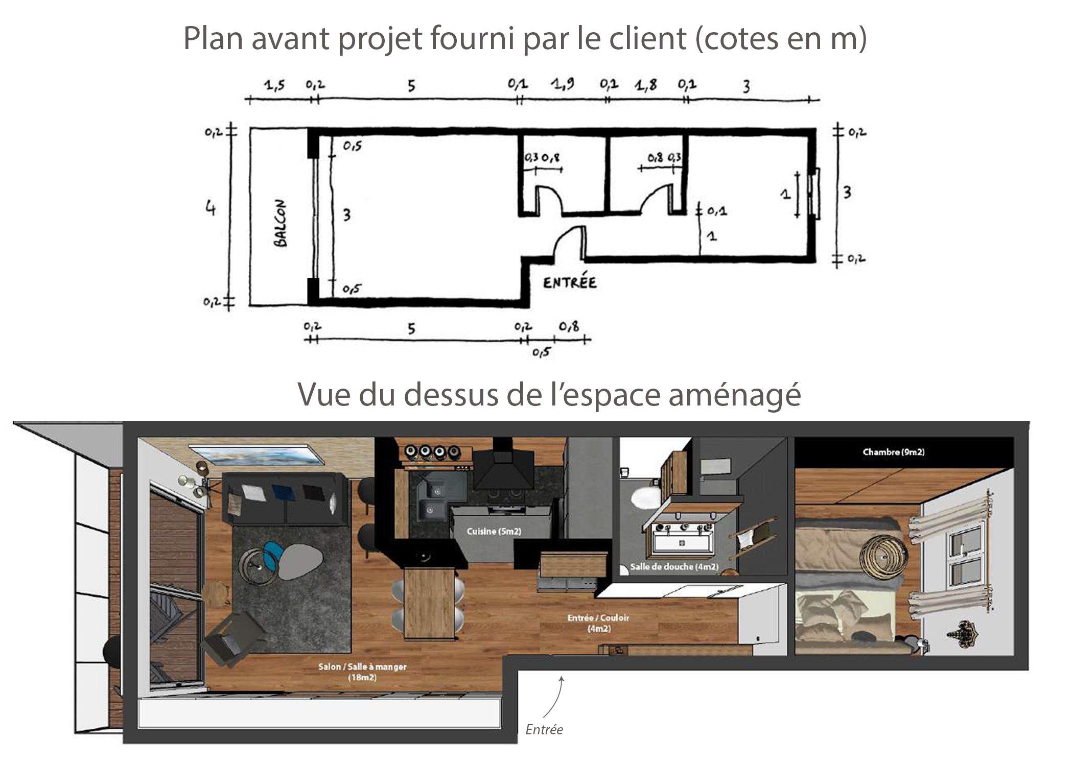 amenagement-decoration-appartement-montagne-italie-plan avant et apres-dekho design