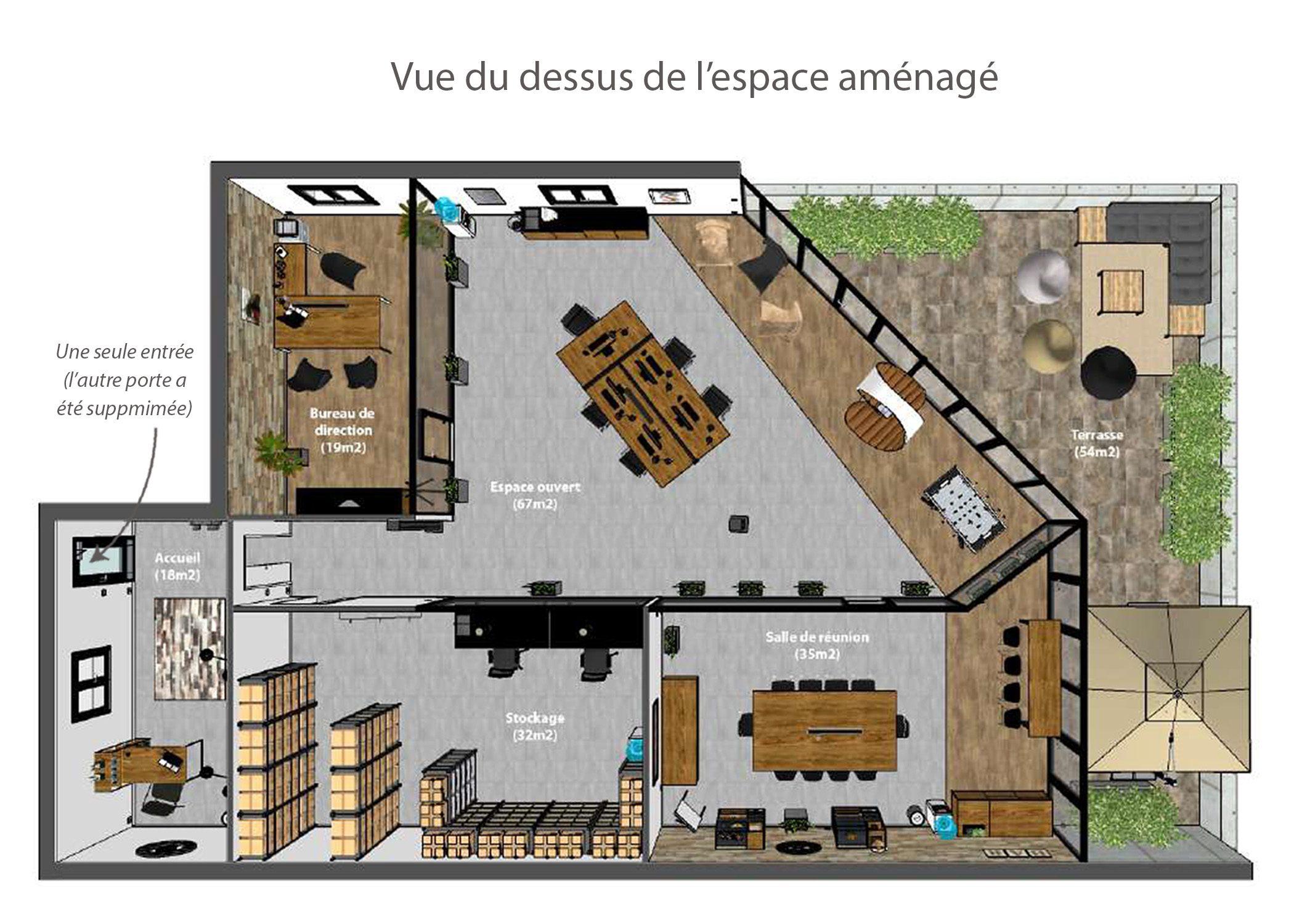 amenagement-decoration-start-up vente en ligne-region parisienne-vue dessus espace amenage-dekho design