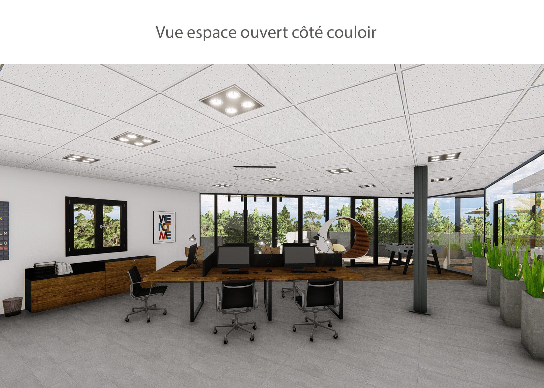 amenagement-decoration-start-up vente en ligne-region parisienne-espace ouvert cote couloir-dekho design