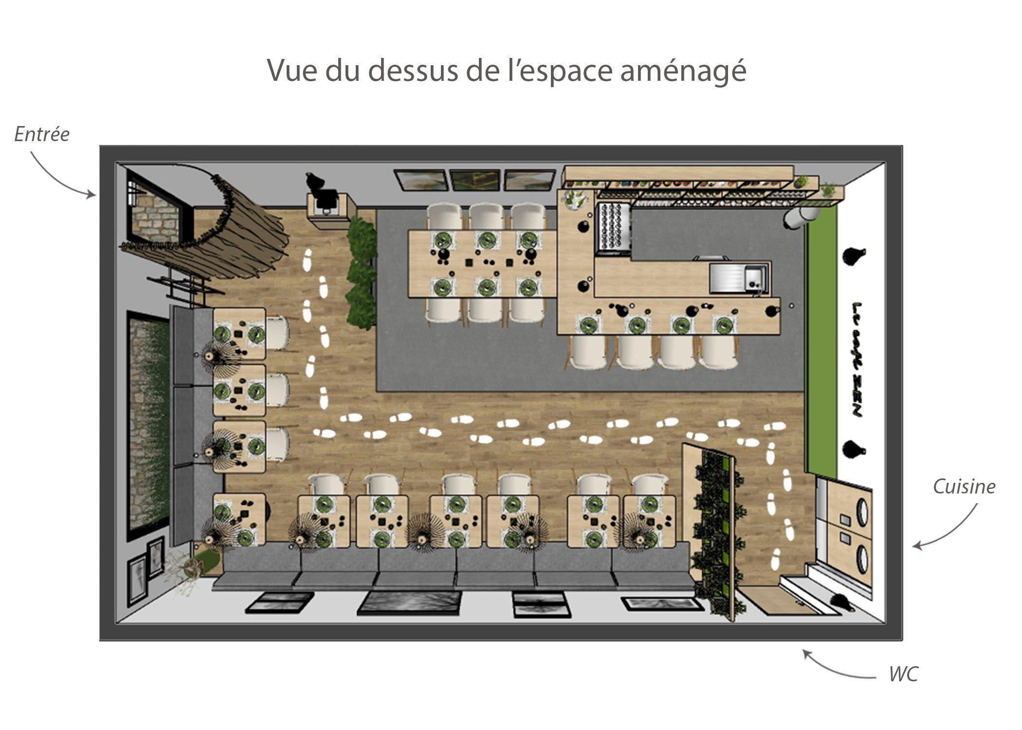 amenagement-decoration-restaurant-lyon-vue du dessus espace amenage-dekho design