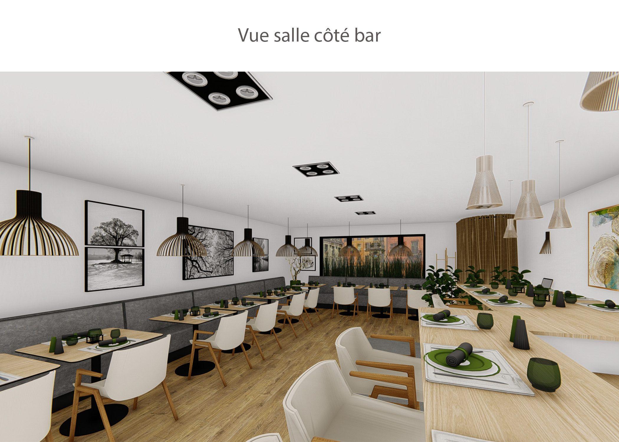 amenagement-decoration-restaurant-lyon-vue salle cote bar-dekho design