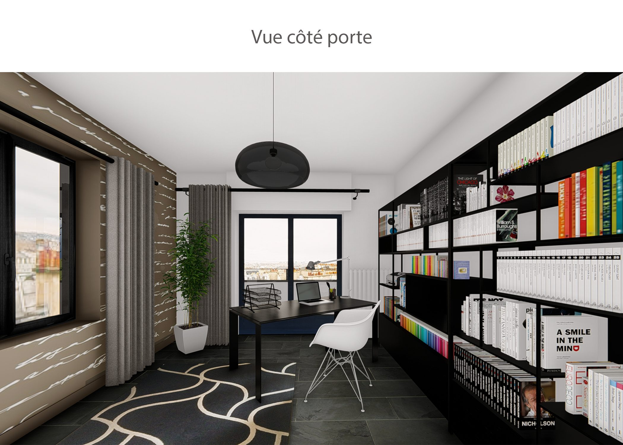 decoration-espace bureau-vue cote porte-paris-dekho design