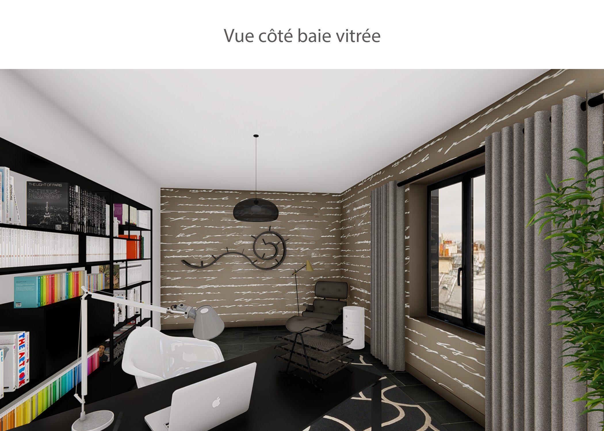 decoration-espace bureau-vue cote baie vitree-paris-dekho design
