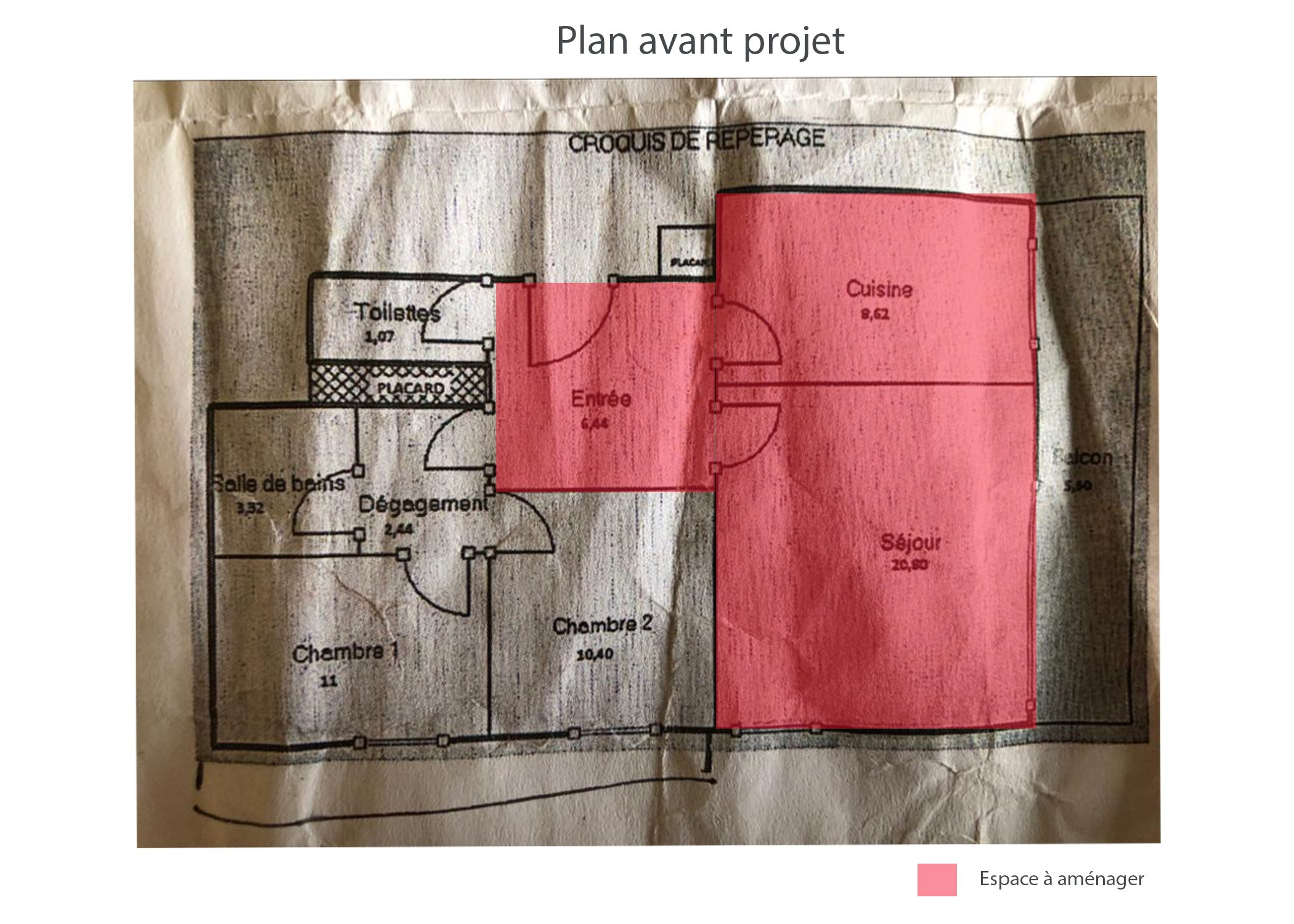 amenagement-decoration-appartement-region parisienne-plan avant projet-dekho design