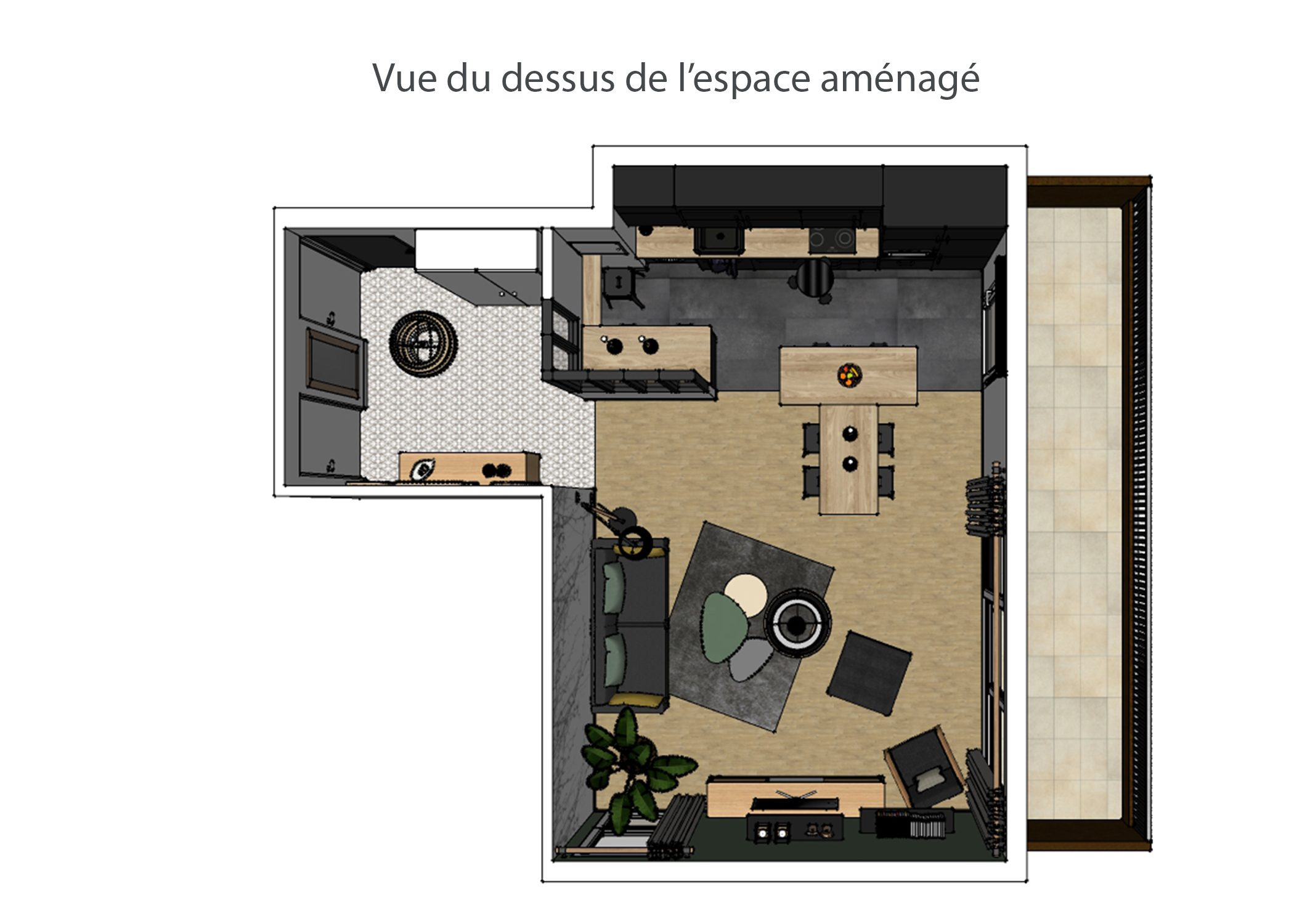 amenagement-decoration-appartement-region parisienne-vue du dessus espace amenage-dekho design
