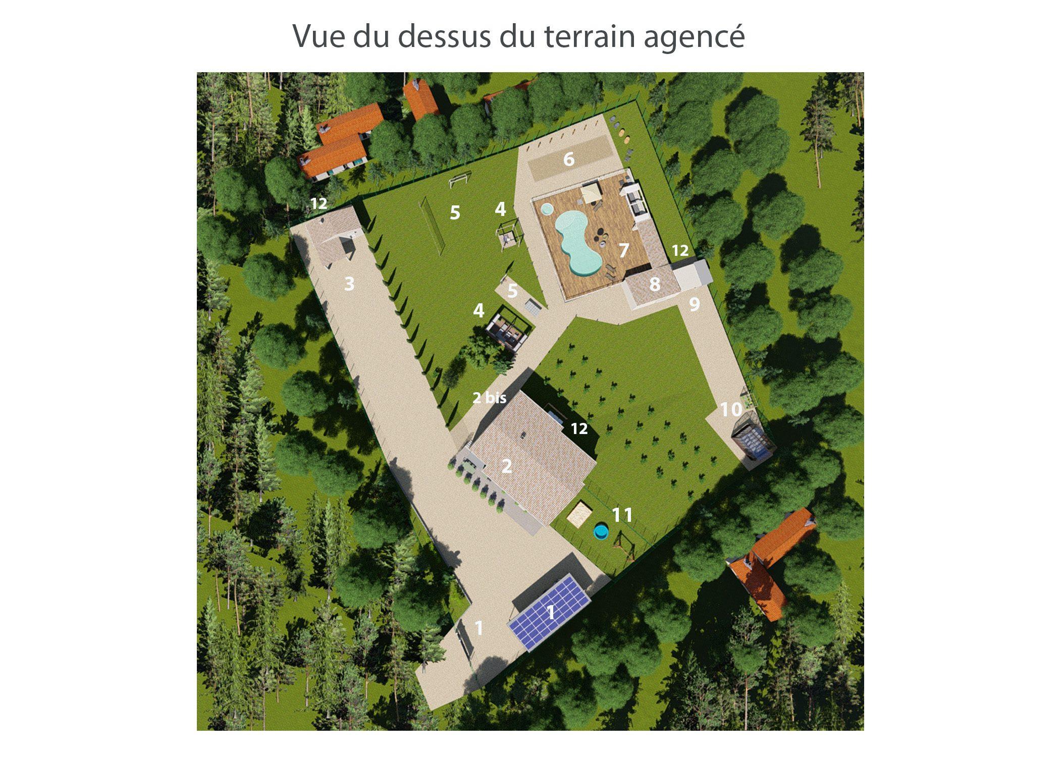 agencement terrain fuveau-espace exterieur-vue du dessus du terrain agence-dekho design