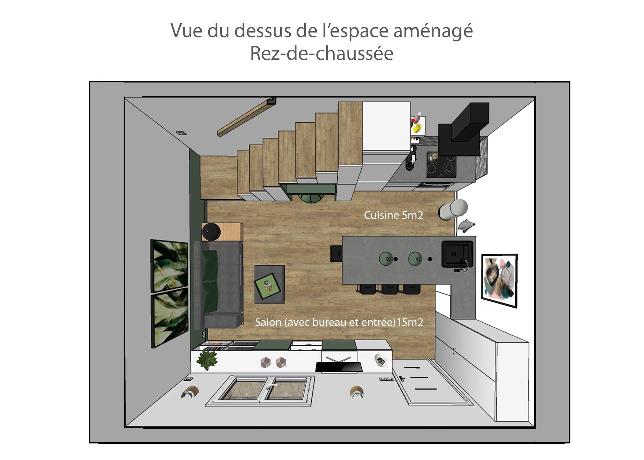agencement petit espace-vue du dessus rdc-region lyonnaise-dekho design