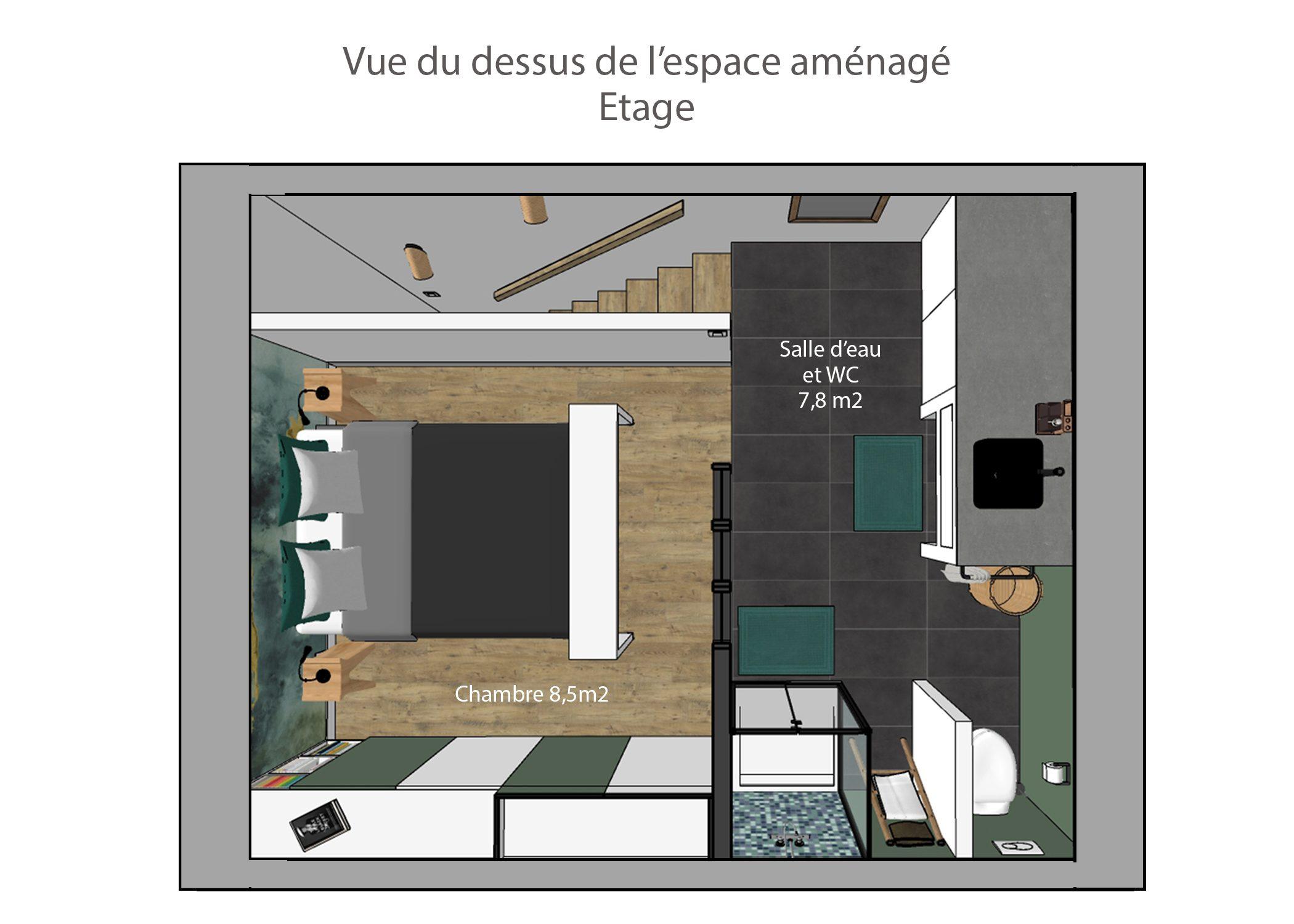 agencement petit espace-vue du dessus etage-region lyonnaise-dekho design