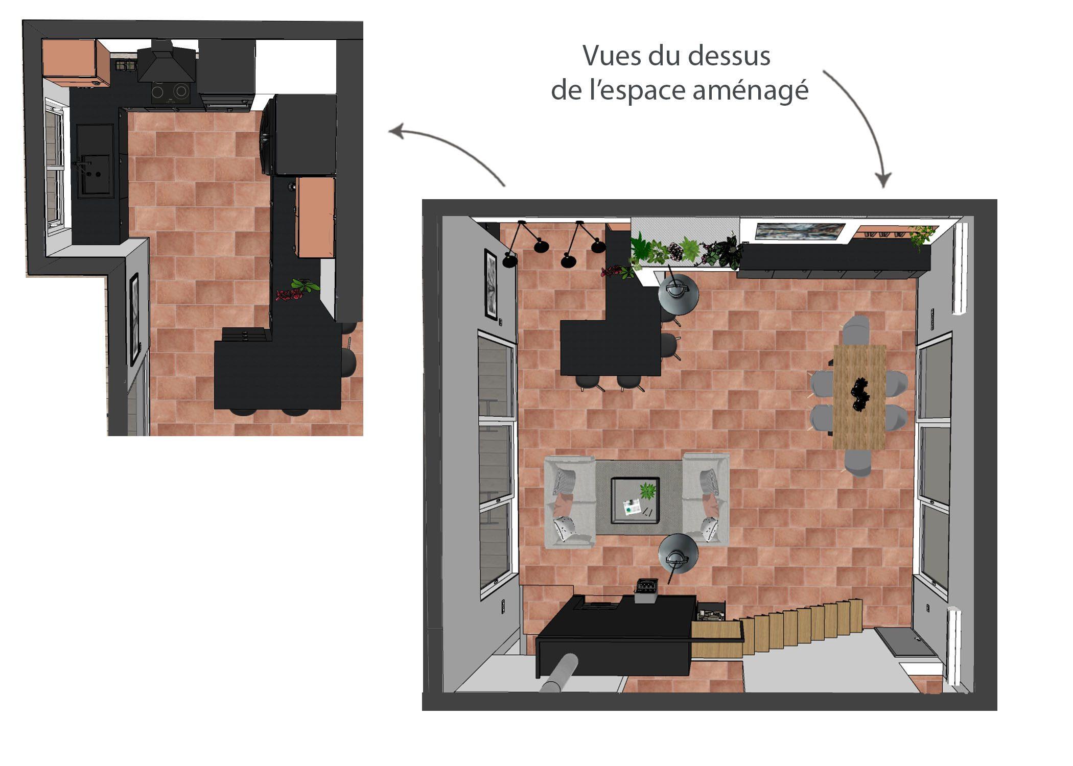 amenagement-decoration-cuisine fuveau-vue du dessus espace amenage-dekho design