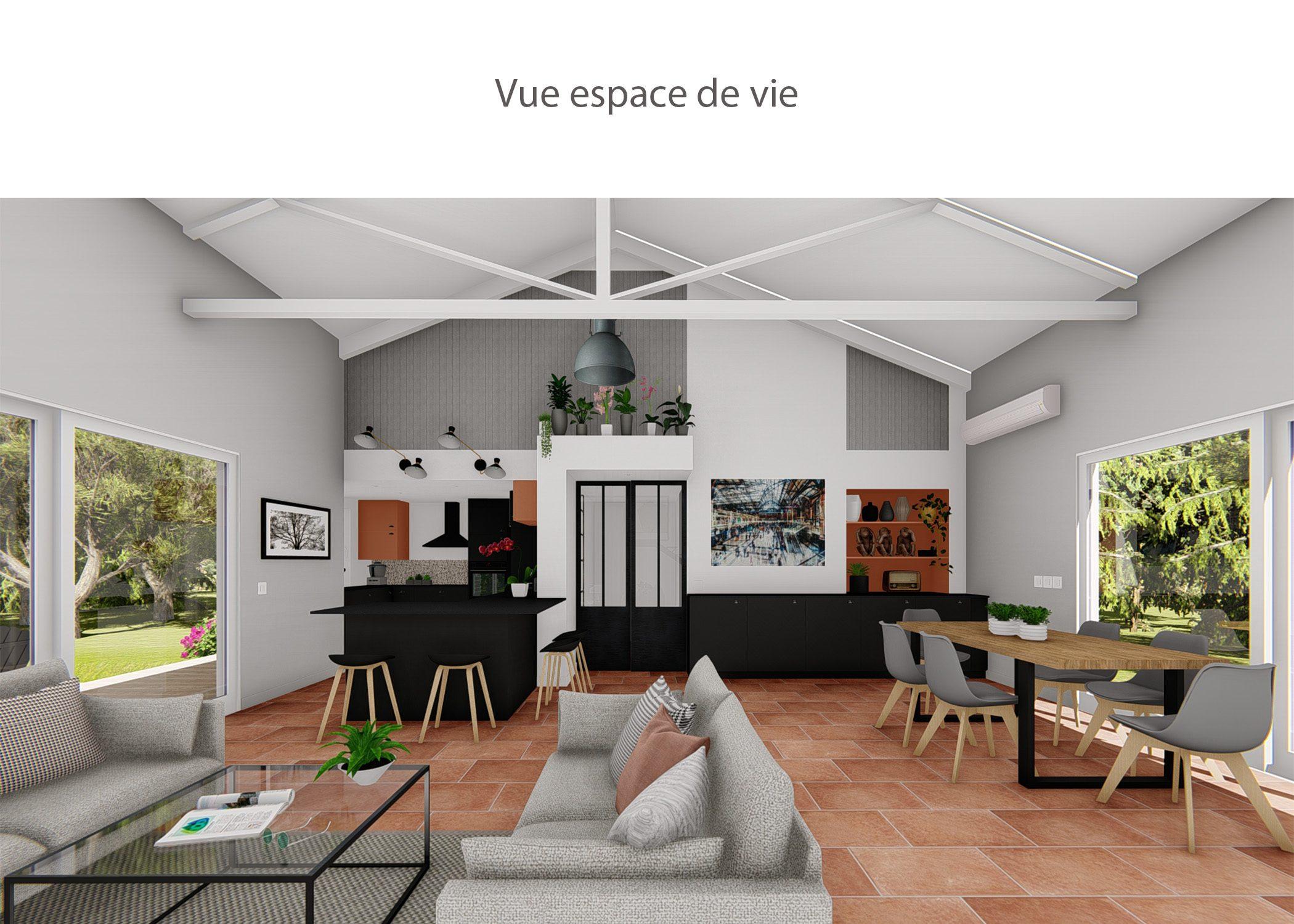 amenagement-decoration-cuisine fuveau-vue espace de vie-dekho design