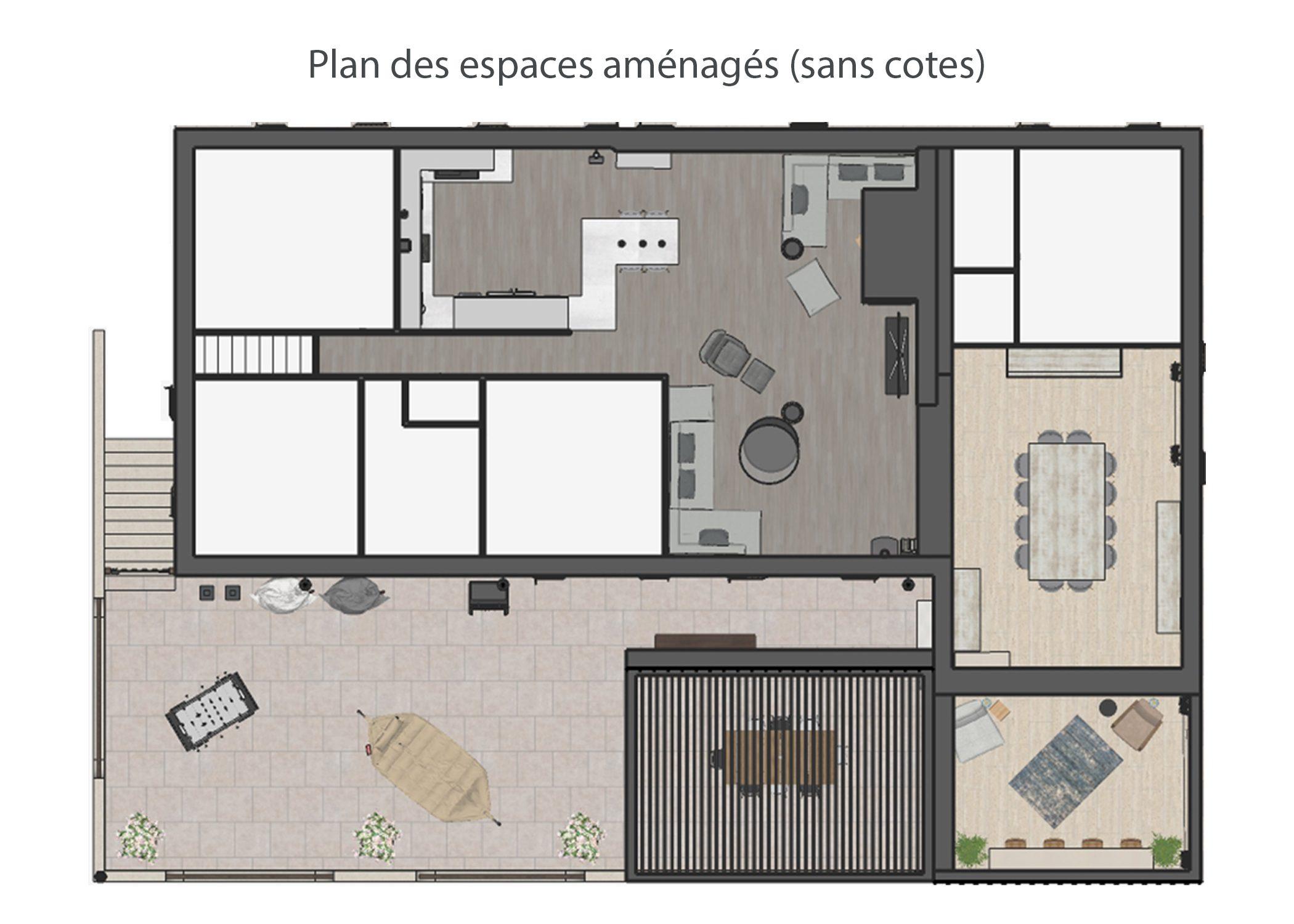 amenagement-decoration-espace de vie et terrasse fuveau-plan espaces amenages-dekho design