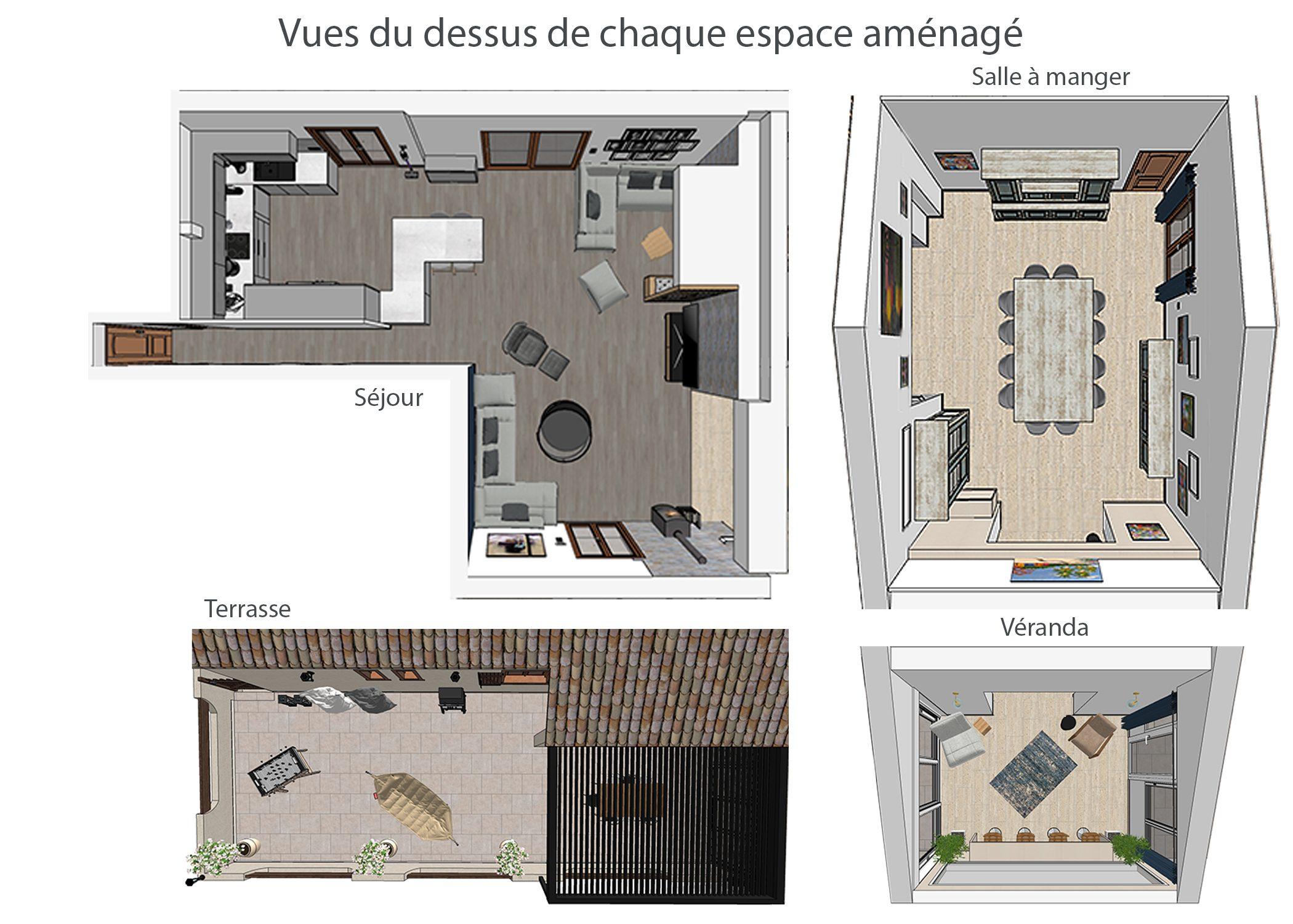 amenagement-decoration-espace de vie et terrasse fuveau-vues du dessus de chaque espace amenage-dekho design