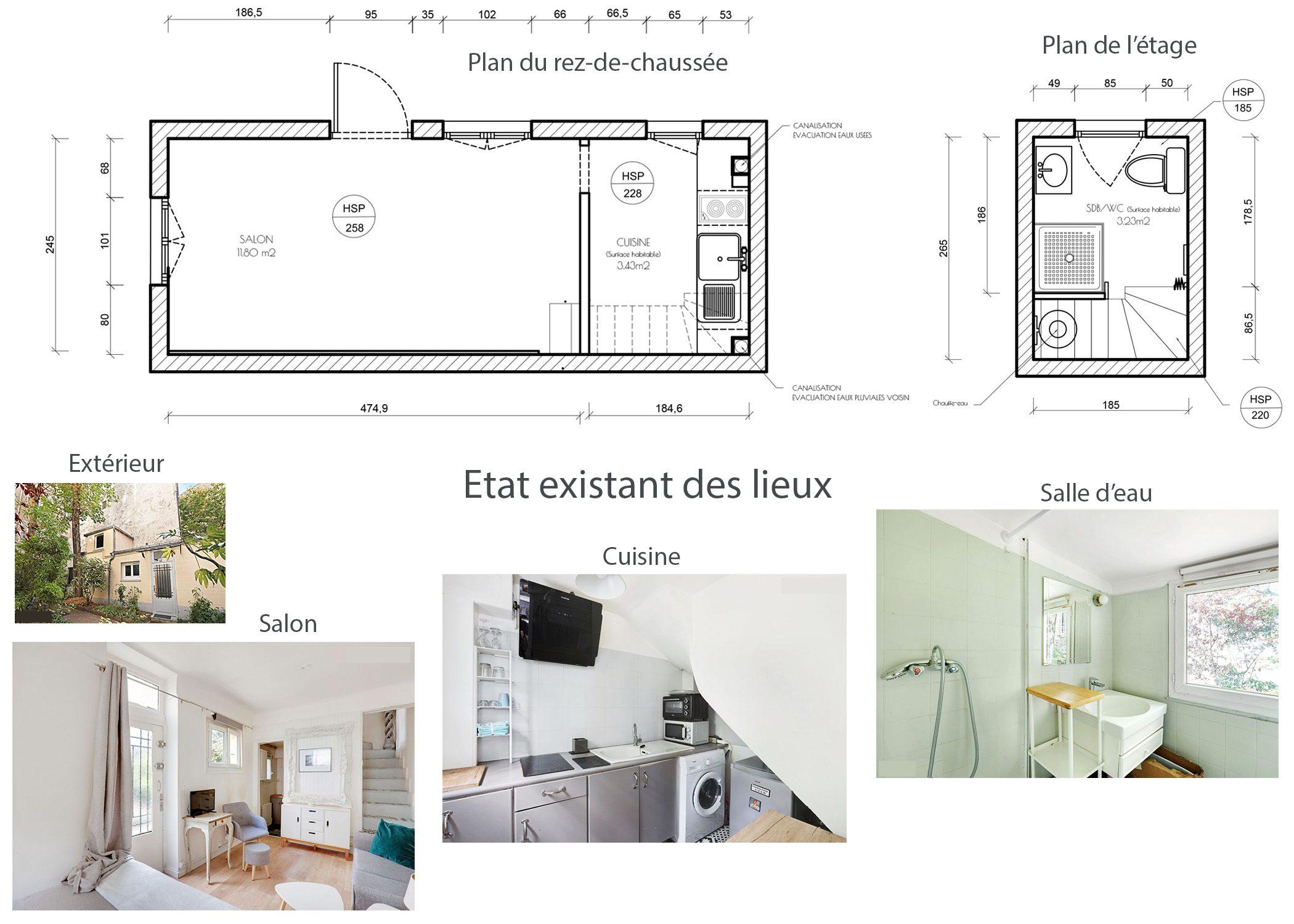 amenagement-decoration-maisonnette-paris-etat avant projet-dekho design
