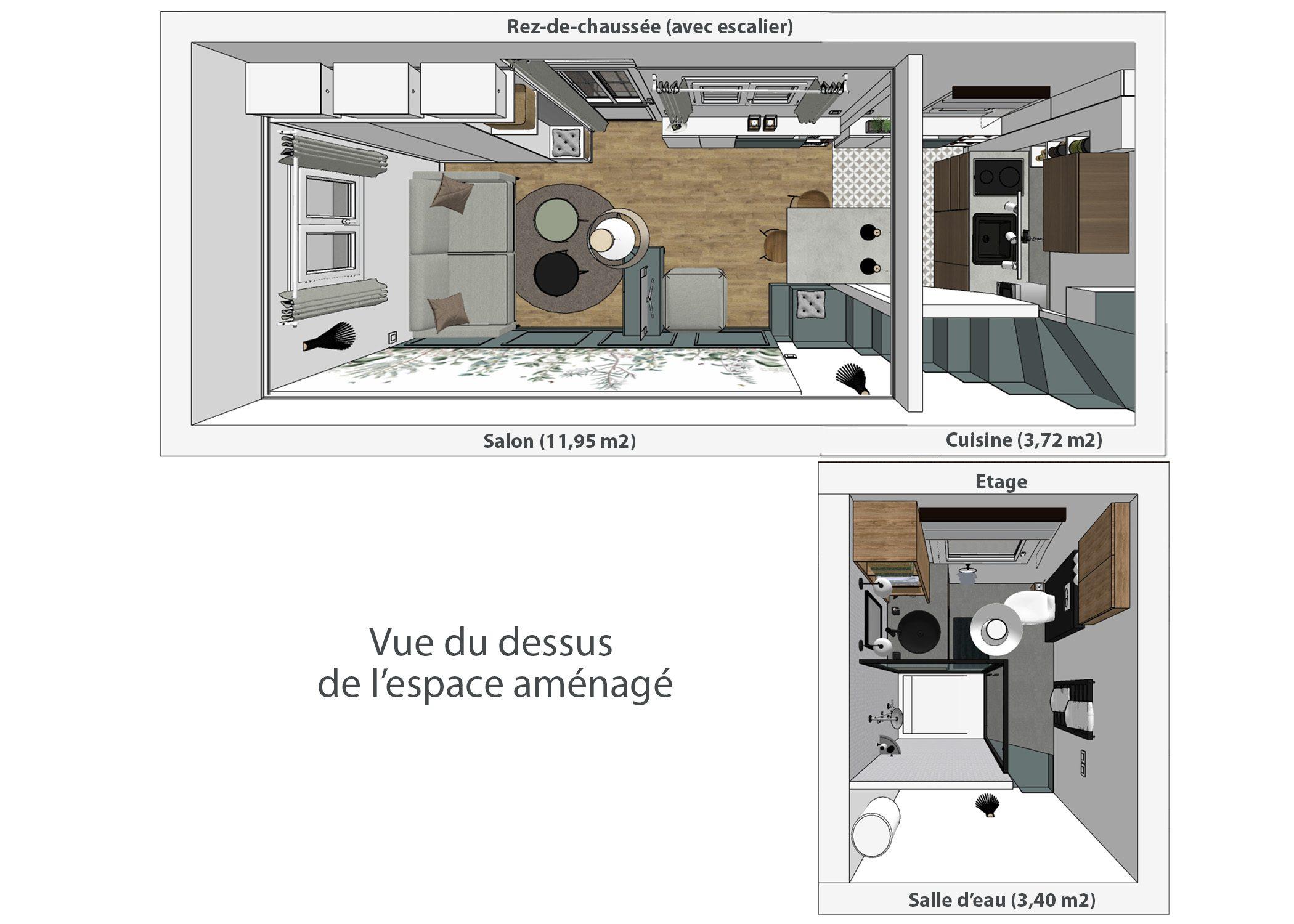 amenagement-decoration-maisonnette-paris-vue du dessus de l'espace aménagé-dekho design