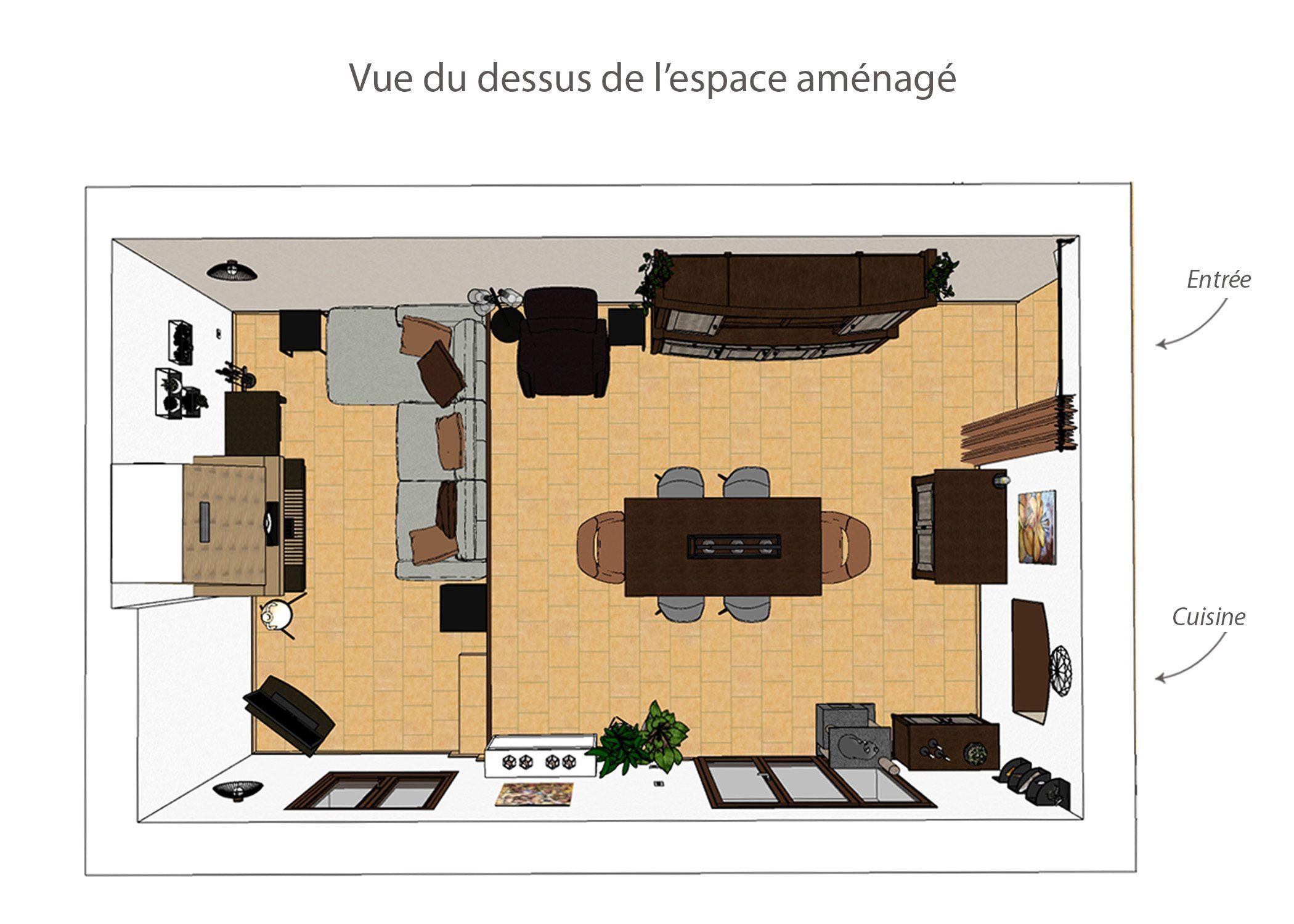 agencement-decoration-sejour fuveau-vue du dessus de l'espace amenage-dekho design