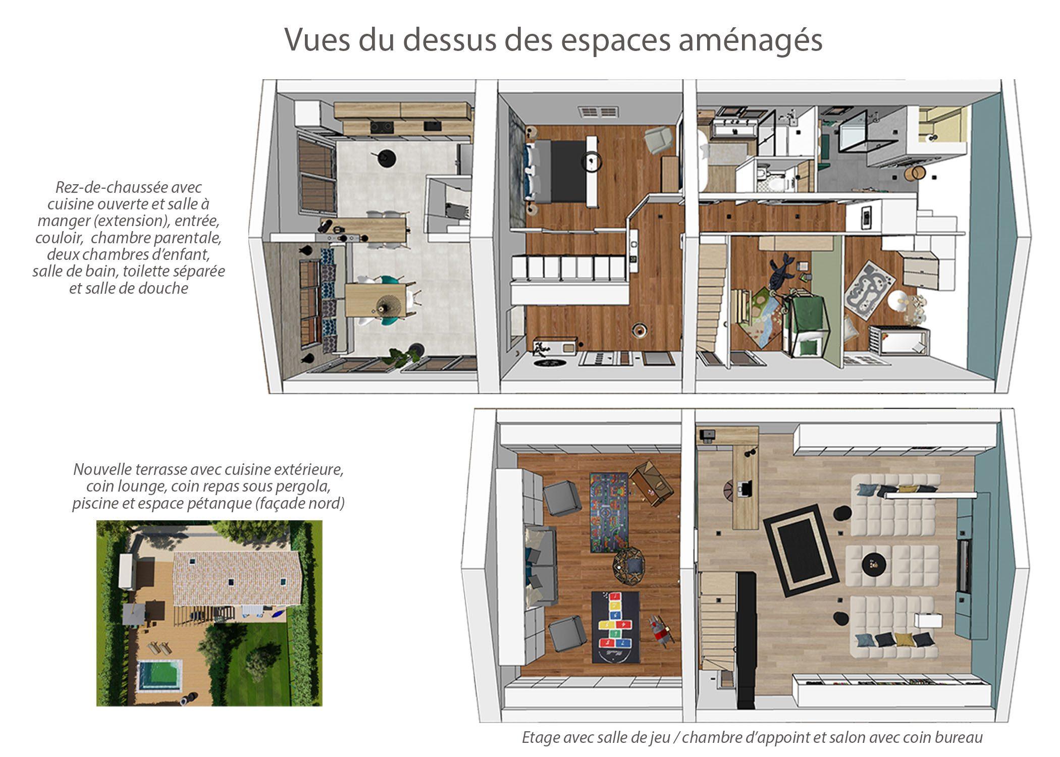 renovation-amenagement-decoration-maison de famille-fuveau-vues du dessus des espaces amenages-dekho design