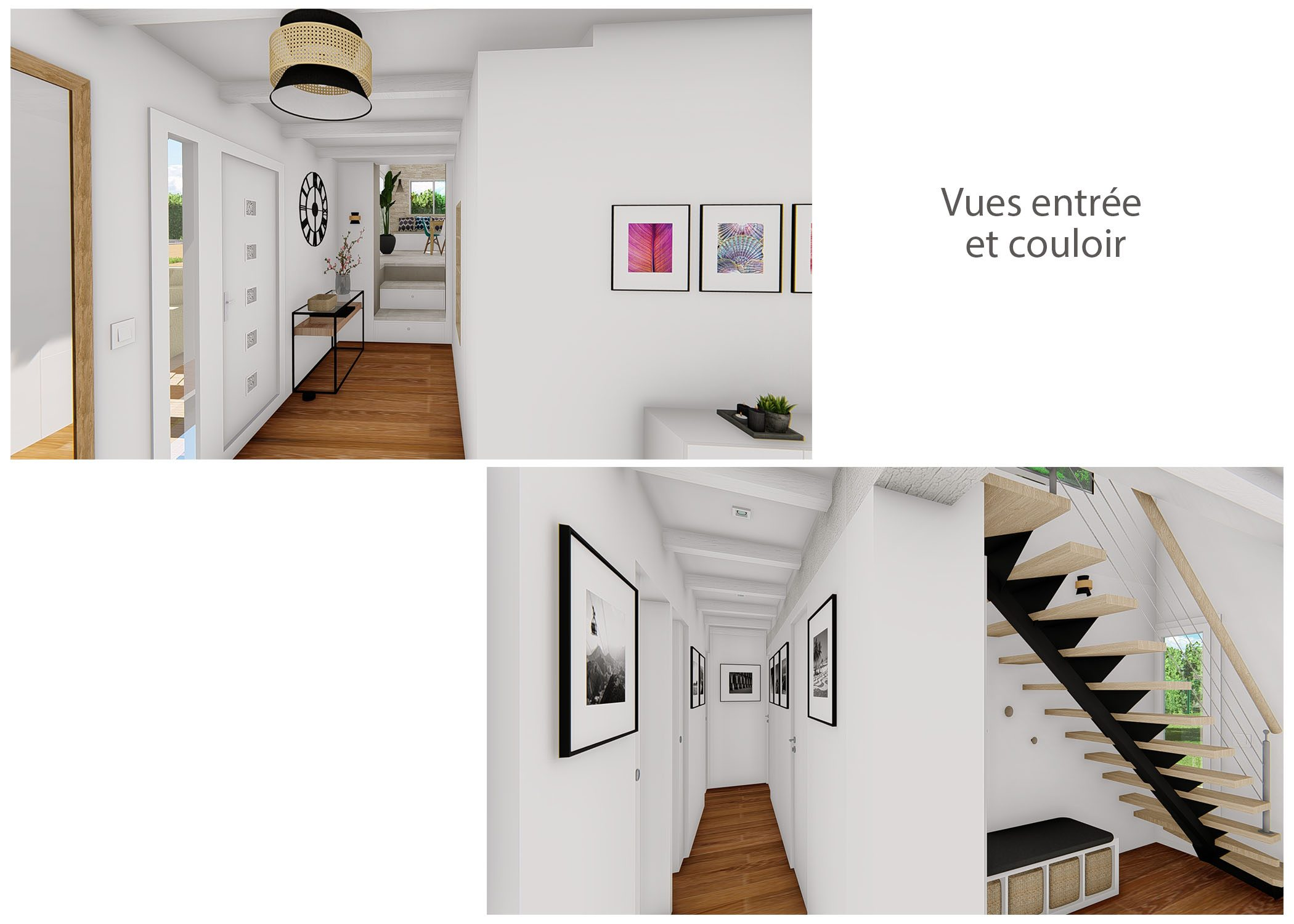 renovation-amenagement-decoration-maison de famille-fuveau-rendus entree et couloirs-dekho design