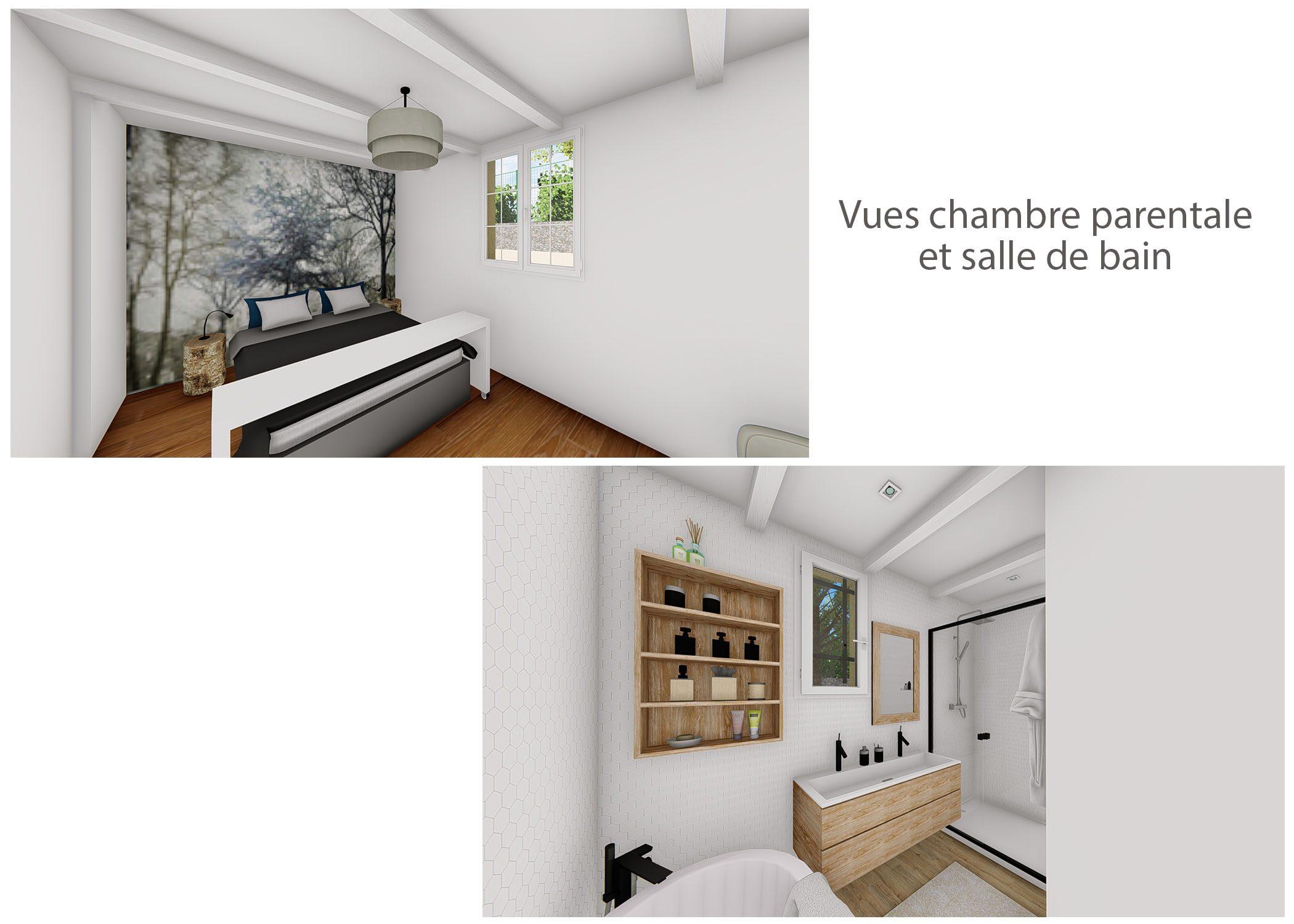 renovation-amenagement-decoration-maison de famille-fuveau-rendus chambre parentale et salle de bain-dekho design
